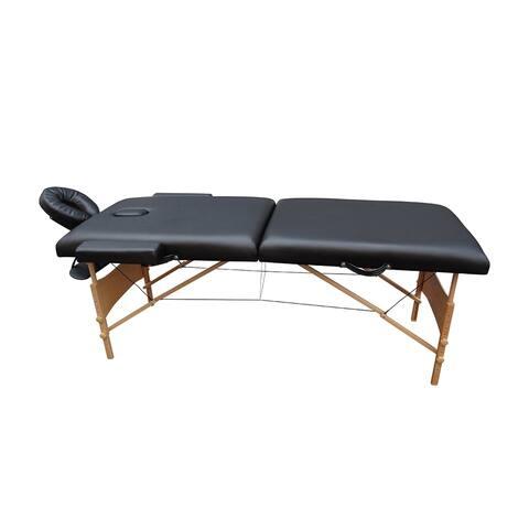 "ALEKO Adjustable 2 Section Folding Portable Massage Table 82"" Black"