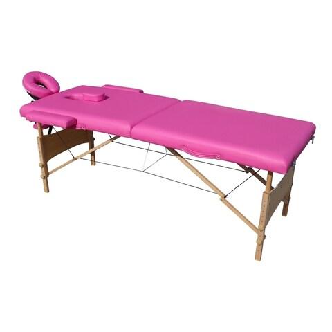 ALEKO Adjustable 2 Section 82-inch Pink Folding Portable Massage Table