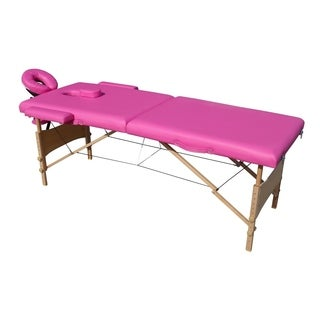 ALEKO Adjustable 2 Section 82-inch Pink Folding Portable Massage Table