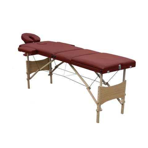 ALEKO Multi-Position Folding Portable Massage Table 82 inches Burgundy