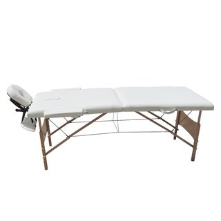 ALEKO Adjustable 2 Section 82-inch White Folding Portable Massage Table