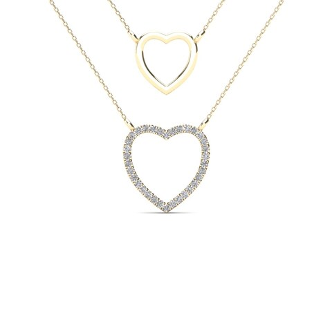 AALILLY 10k Yellow Gold Diamond Accent Double Strand Heart Necklace (H-I, I1-I2)