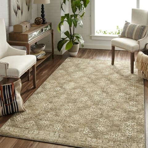 """Mohawk Home Traditional Relic Kalida Distressed Neutral Area Rug (7'6 x 10') - 7'6"""" x 10'"""
