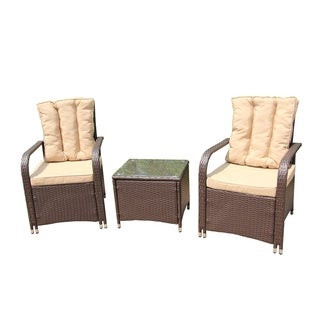 ALEKO Rattan Wicker 3-Piece Indoor/Outdoor Furniture and Table Set
