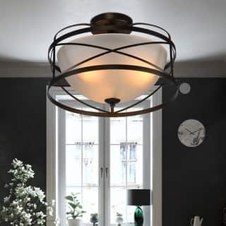 Bertrand Black 3-Light Flushmount with Frosted Glass Shade