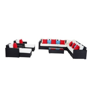Outsunny 13 Piece Outdoor Rattan Wicker Sectional Sofa Furniture Set