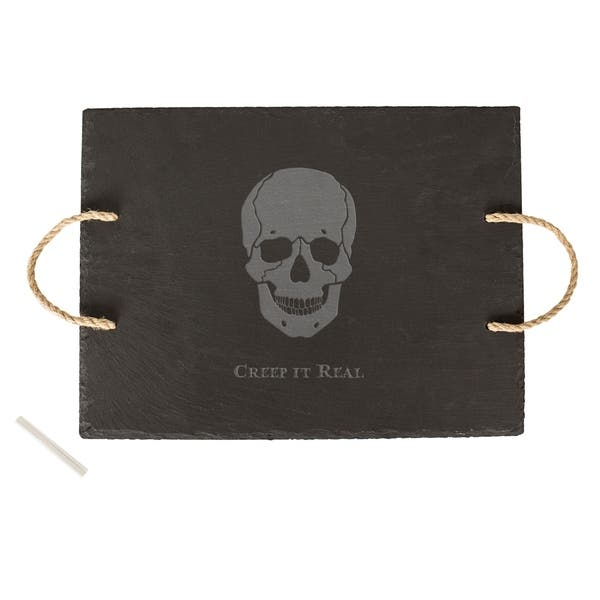 Halloween Creep It Real Skull Slate Serving Tray Overstock 22212103