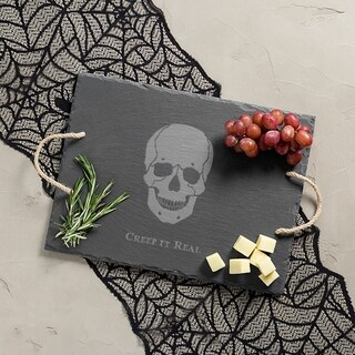"Halloween ""Creep It Real"" Skull Slate Serving Tray"