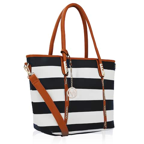 MKF Collection Marina Striped Tote Handbag by Mia K Farrow