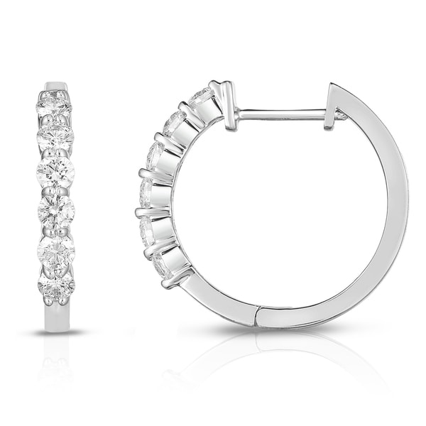 Noray Designs 14K White Gold Diamond (0.75 Ct, G-H Color, SI2-I1 Clarity) Huggie Hoop Earrings