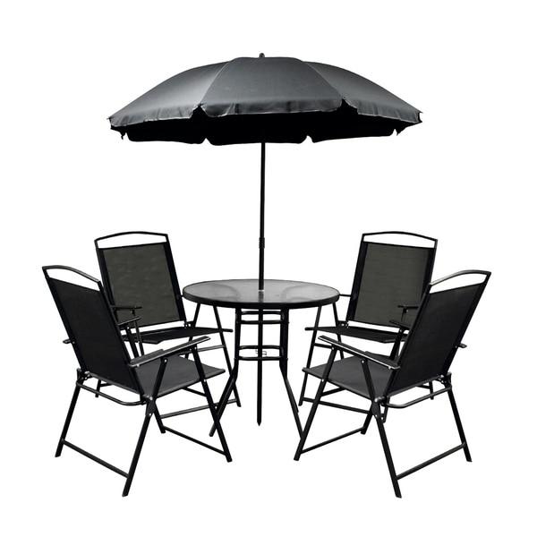 ALEKO Steel Indoor/Outdoor Patio Furniture Set with Umbrella 6-Piece - Shop ALEKO Steel Indoor/Outdoor Patio Furniture Set With Umbrella 6