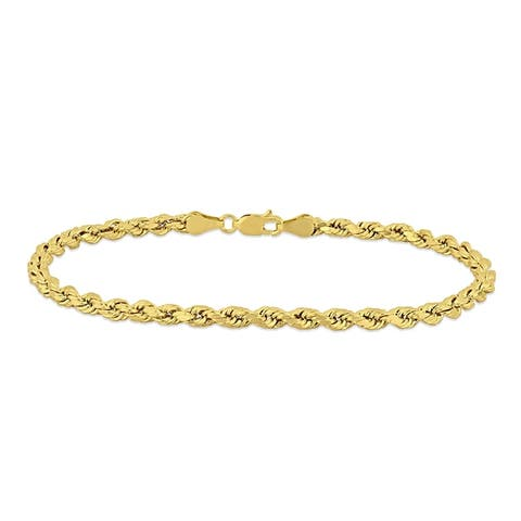 Miadora 10k Yellow Gold Men's 9 Inch Rope Chain Bracelet (4 mm)