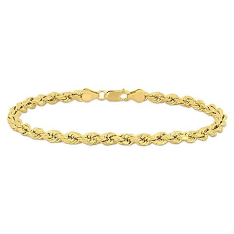 Miadora 10k Solid Yellow Gold Men's 9 Inch Rope Chain Bracelet (5mm) - 9 in x 5 mm x 5 mm