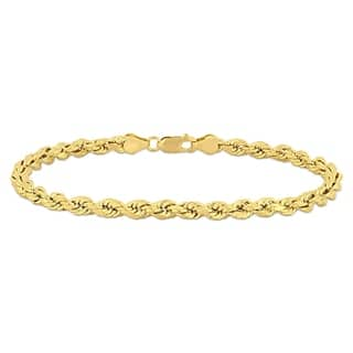 Miadora 10k Solid Yellow Gold Men's 9 Inch Rope Chain Bracelet (5mm)