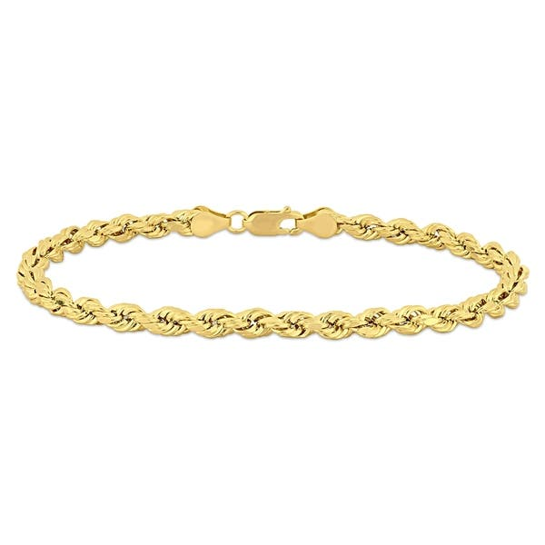 db787277f3086 Shop Miadora 14k Solid Yellow Gold Men's 9 Inch Rope Chain Bracelet ...