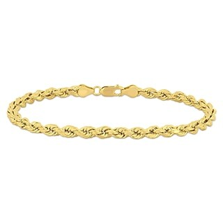 Miadora 14k Yellow Gold Men's 9 Inch Rope Chain Bracelet