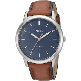 Fossil Men's The Minimalist Blue Dial Brown Leather Watch