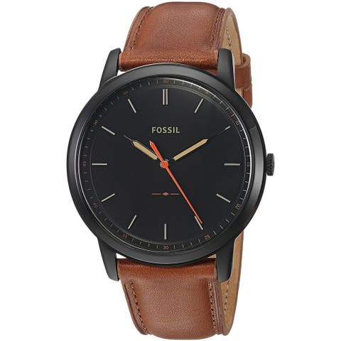 Fossil Men's FS5305 The Minimalist Black Dial Light Brown Leather Watch