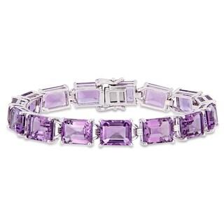 Link to Miadora Sterling Silver 45ct TGW Amethyst Tennis Bracelet Similar Items in Bracelets