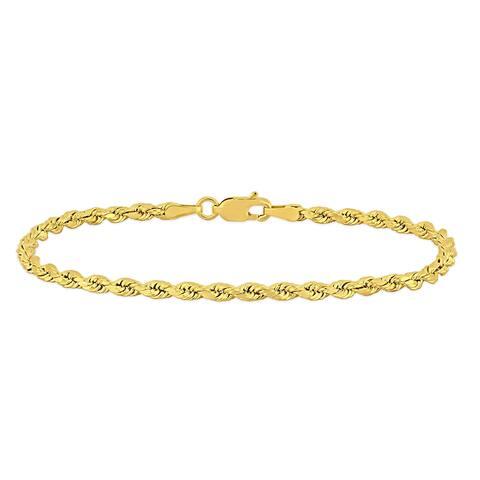 Miadora 10k Yellow Gold 7.25 Inch Rope Chain Bracelet