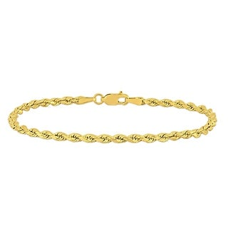 Miadora 10k Yellow Gold 7.25 Inch Rope Chain Bracelet