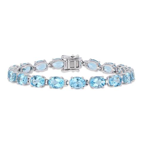 Miadora Sterling Silver 28 1/2ct TGW Sky-Blue Topaz Tennis Bracelet