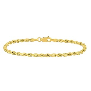 Miadora 14k Yellow Gold 7.25 Inch Rope Chain Bracelet