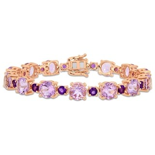 Miadora Rose Plated Sterling Silver Rose de France African-Amethyst Bracelet