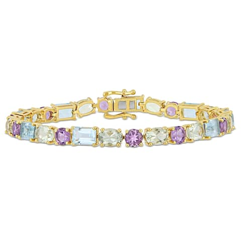 Miadora Yellow Plated Sterling Silver Sky-Blue Topaz Green and Purple Amethyst Bracelet