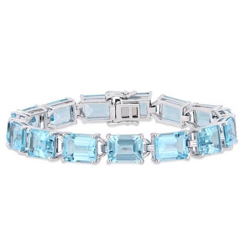 Miadora Sterling Silver 59 3/4ct TGW Sky-Blue Topaz Tennis Bracelet