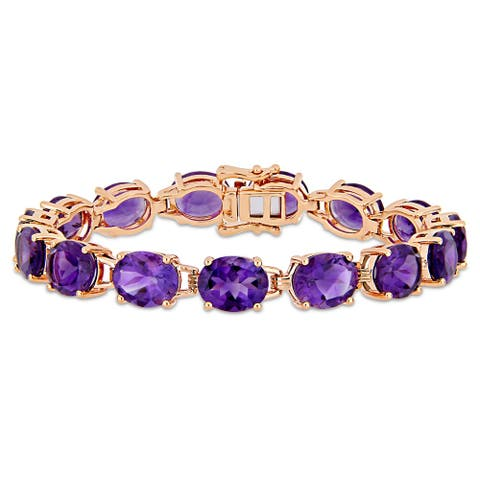 Miadora Rose Plated Sterling Silver 36ct TGW African-Amethyst Bracelet