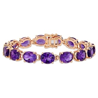 Link to Miadora Rose Plated Sterling Silver 36ct TGW African-Amethyst Bracelet Similar Items in Bracelets