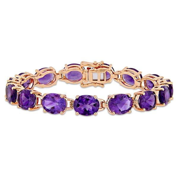 Miadora Rose Plated Sterling Silver 36ct TGW African-Amethyst Bracelet. Opens flyout.