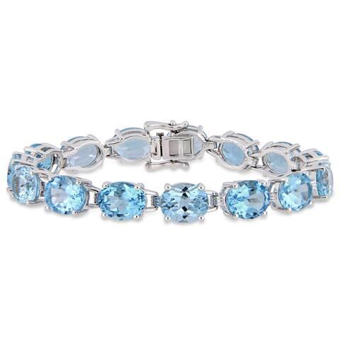 Miadora Sterling Silver 57ct TGW Sky-Blue Topaz Tennis Bracelet