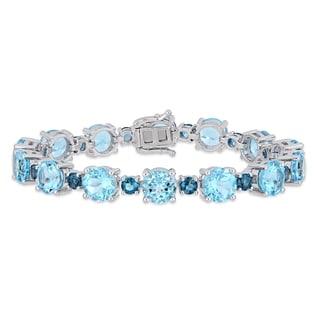 Miadora Sterling Silver 37 1/10ct TGW Sky & London-Blue Topaz Tennis Bracelet