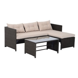 Outsunny Brown/Tan Rattan Wicker 3-piece Outdoor Patio Sofa and Chaise Lounge Set