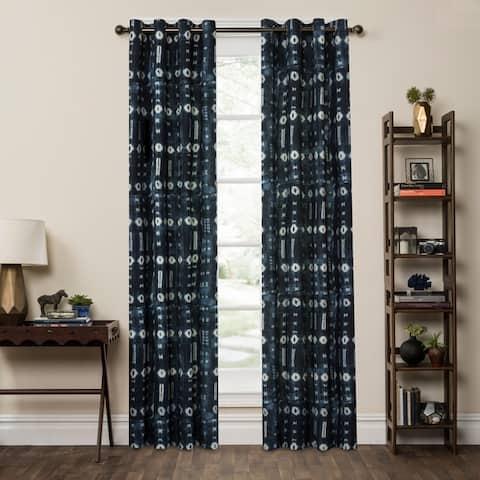 P Kaufmann Home Fascination Denim Patchwork Curtain Panel