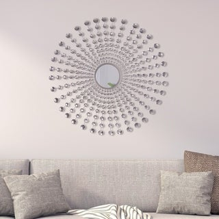 Glam Jeweled Silver Round Starburst Wall Mirror