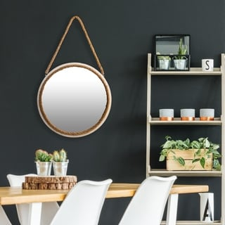 16 Inch Distressed Round Rope Wall Mirror