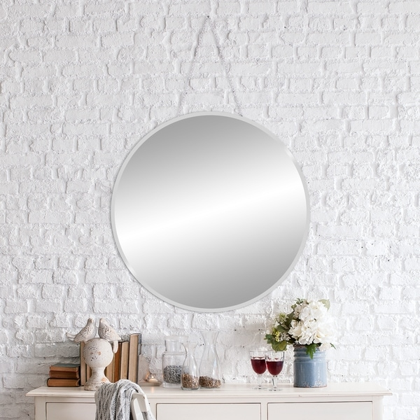 Shop 28 Inch Frameless Beveled Wall Mirror With Hanging