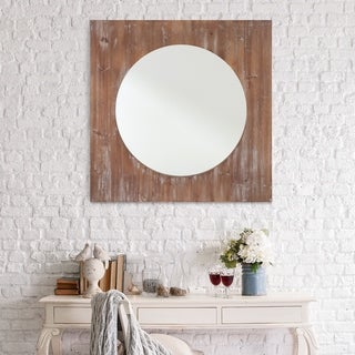 Round Distressed Brown Reclaimed Wood 36-inch Wall Mirror