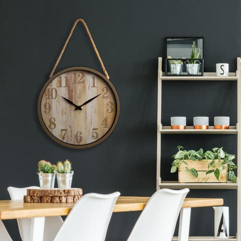 16 Inch Distressed Woodgrain Clock with Rope Accent