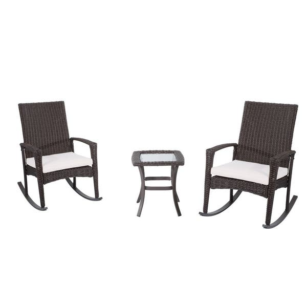 Magnificent Shop Outsunny 3 Piece Brown Rattan And Beige Cushions Unemploymentrelief Wooden Chair Designs For Living Room Unemploymentrelieforg