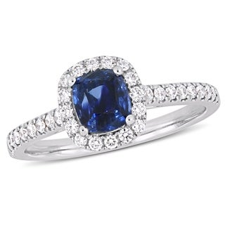 Miadora Signature Collection 14k White Gold Cushion-Cut Blue Sapphire and 1/3ct TDW Diamond Square Halo Engagement Ring