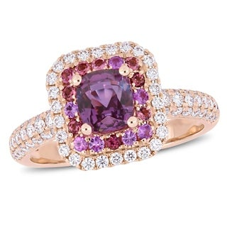 Miadora Signature Collection 14k Rose Gold Cushion-Cut Pink Sapphire and 5/8ct TDW Diamond Double Halo Engagement Ring