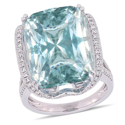 Miadora Signature Collection 14k White Gold Natural Untreated Sky-Blue Topaz and 3/5ct TDW Diamond Halo Curved Engagement Ring