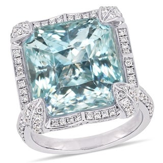 Miadora Signature Collection 14k White Gold Sky-Blue Topaz and 1 1/4ct TDW Diamond Halo Cocktail Ring