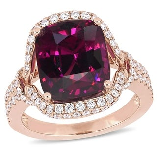 Miadora Signature Collection 14k Rose Gold Rhodolite Garnet & 3/4ct TDW Diamond Halo Engagement Ring