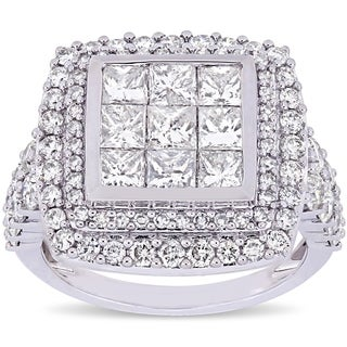 Miadora Signature Collection 14k White Gold 2-7/8ct TDW Diamond Cluster Double Halo Engagement Ring (5 options available)