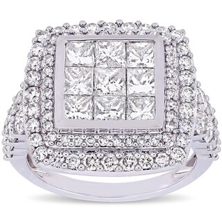 Miadora Signature Collection 14k White Gold 2-7/8ct TDW Diamond Cluster Double Halo Engagement Ring